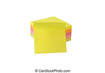 stack of postits with one blank in - stack of post its in...
