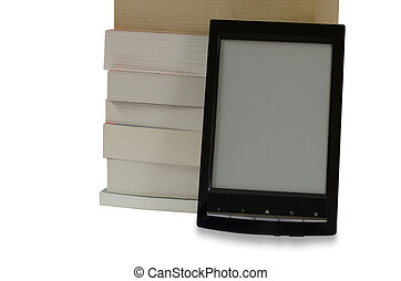 e-book reader in front of pile of b