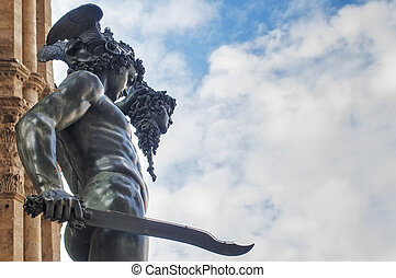 Statue of Perseus - Perseus with the Head of Medusa, bronze...