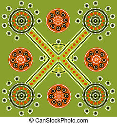 Pattern - A illustration based on aboriginal style of dot...