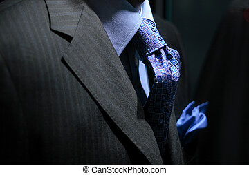 Striped jacket with blue shirt, tie & handkerchief - Close...