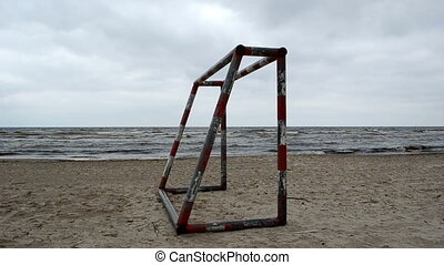 football gate sea sand - football gates on beach sand and...