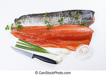 Fresh Salmon Fish Fillets with Herbs - Wild Salmon Fillets...