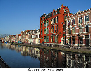 Canal in Amsterdam - View of a historical part of Amsterdam...