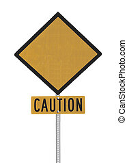 Blank Highway Caution Sign - Blank highway caution sign...