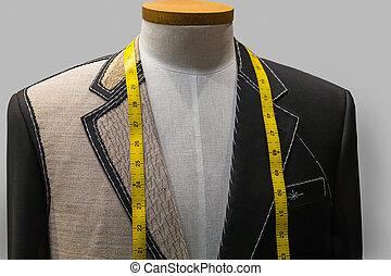 inacabado, chaqueta, sastre, Tienda, (horizontal)
