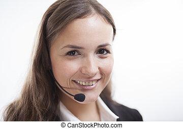 How may I assist you - Portrait of a cute contact center...