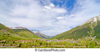 The City of Silverton nestled in the San Juan Mountains in...