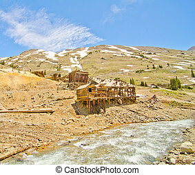 Preserved Houses in Animas Forks, a Ghost Town in the San...