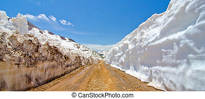Snow Wall Leading from Animas Forks to Cinnamon Pass in the...