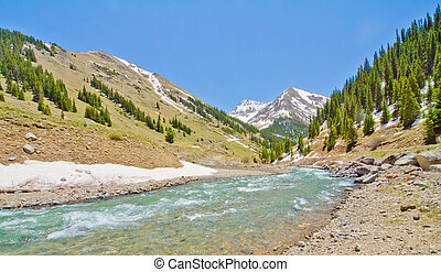 A Mountain Stream in Animas Forks, a ghost town, in the San...