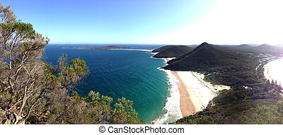 Panoramic view of Port Stephen from Tomaree National Park,...