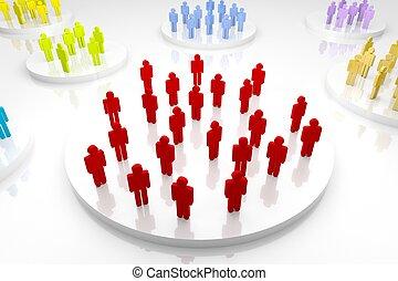 Large Team - 3d render illustration of several group of...
