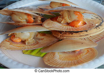 Shellfish on the white plate