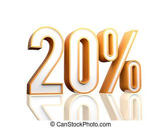 20 Percent - 3d render illustration of percentage number.