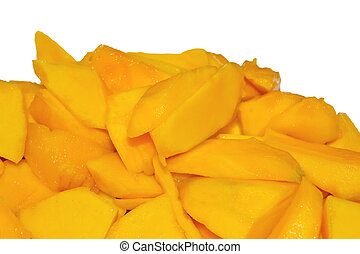 The sliced mango on a white background