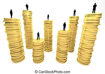 Wealth Ranks - 3d render illustration of gold coin pillars...