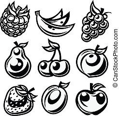 Black and White Stylized Fruit Icon - Vector set of black...
