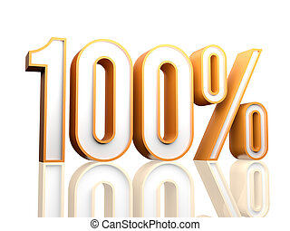 100 Percent - 3d render illustration of percentage number.