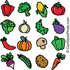 Vegetable Doodles - Vector set of fun colorful vegetable...