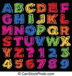 Colorful Hand Drawn Alphabet and Nu - Vector set of colorful...