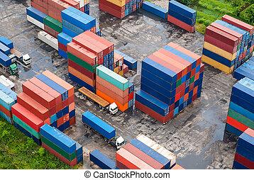 Pila, carga, contenedores, diques
