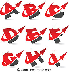 Swoosh Arrow Alphabet Icons Set 1 - Vector alphabet set with...