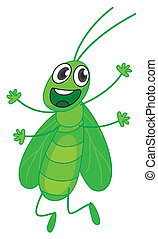 Grasshopper - Illustration of a smiling grasshopper on a...