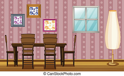 A dinning table - Illustration of a dinning table in a room