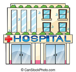 Hospital - Detailed illustration of hospital building on...