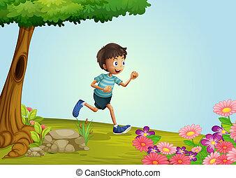 A boy running in garden