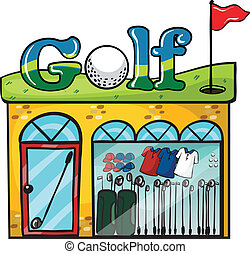 Golf accessories store - Illustration of Golf accessories...