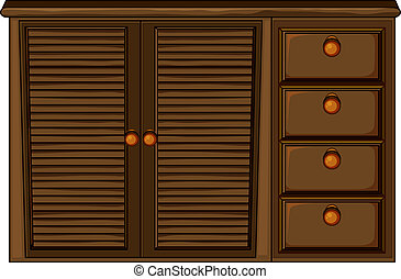 Cupboard with drawer - Illustration of cupboard with drawers...
