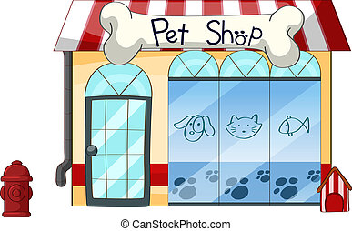 A PetShop - Illustration of a petshop on a white background
