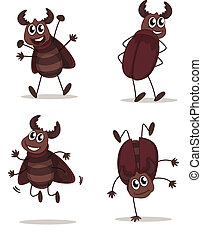 Smiling beetles - Illustration of a smiling beetles on a...