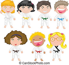 Karate kids - Illustration of karate kids on a white...