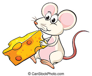 A mouse eating cheese - Illustration of a mouse eating...