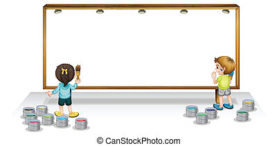Kids painting white board - Illustration of a kids painting...