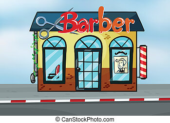 Barber shop - Illustration of barber shop on road