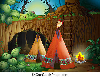A tent in nature - Illustration of a tent in nature in dark...