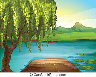 A river and a wooden bench - Illustration of a river and a...