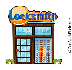 A locksmith shop - Illustration of a locksmith shop on a...