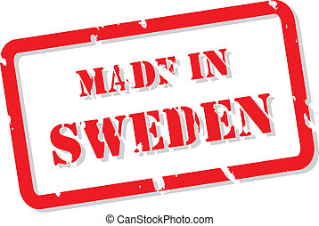 Sweden Stamp - Red rubber stamp vector of Made In Sweden
