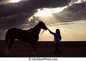 Woman and horse - Silhouette of the woman and horse training...