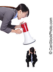 angry boss with megaphone yelling to Staff - big angry boss...