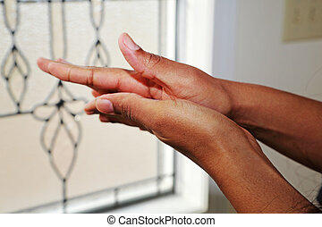 Hands Rubbing - A person dries his hands