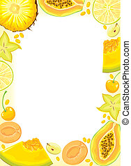 Yellow fruits and  berries frame