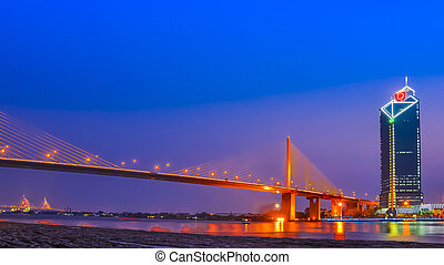 Rama 9 Bridge at Chaopraya river, Bangkok Thailand -...