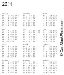 calendar of 2011. Monday is first - vertical oriented...