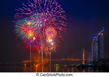 Fireworks and Rama 9 Bridge at Chaopraya river, Bangkok...